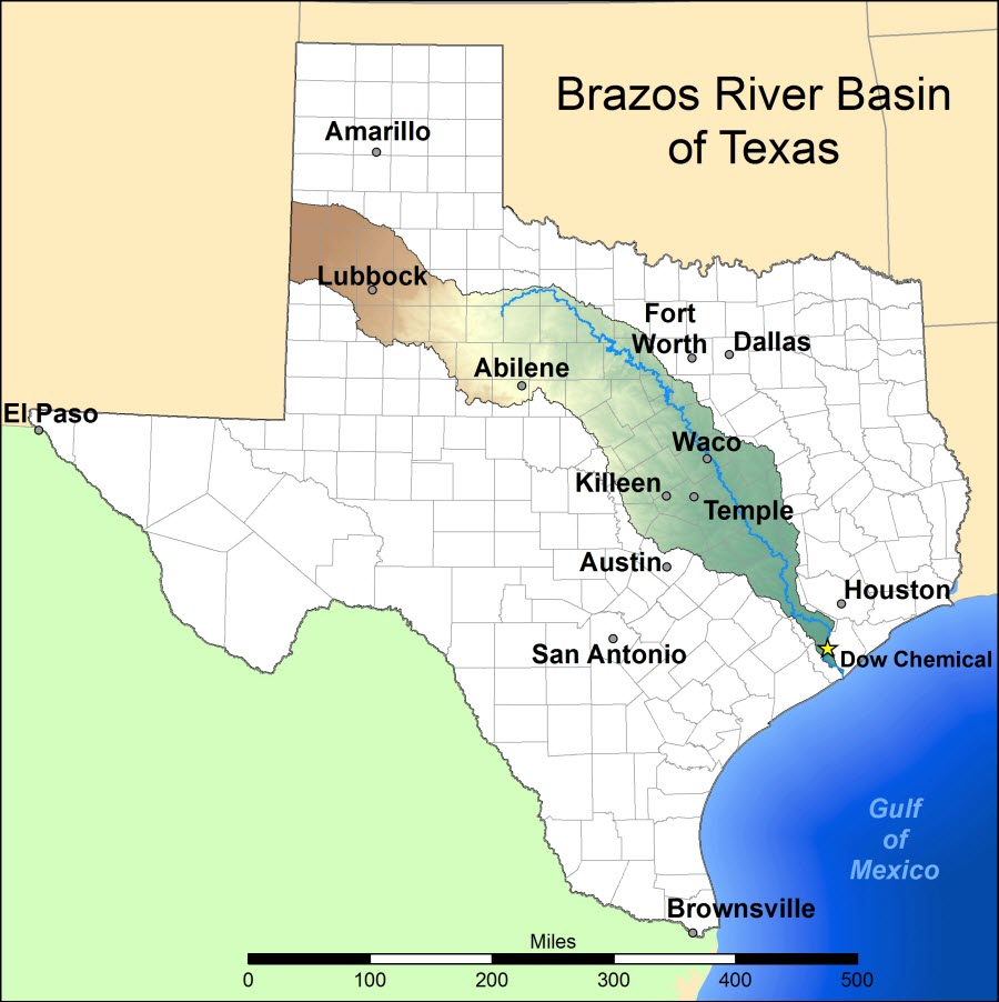 Where can I find a map of the Brazos basin?